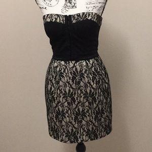 Miha black lace with underlay strapless mini dress